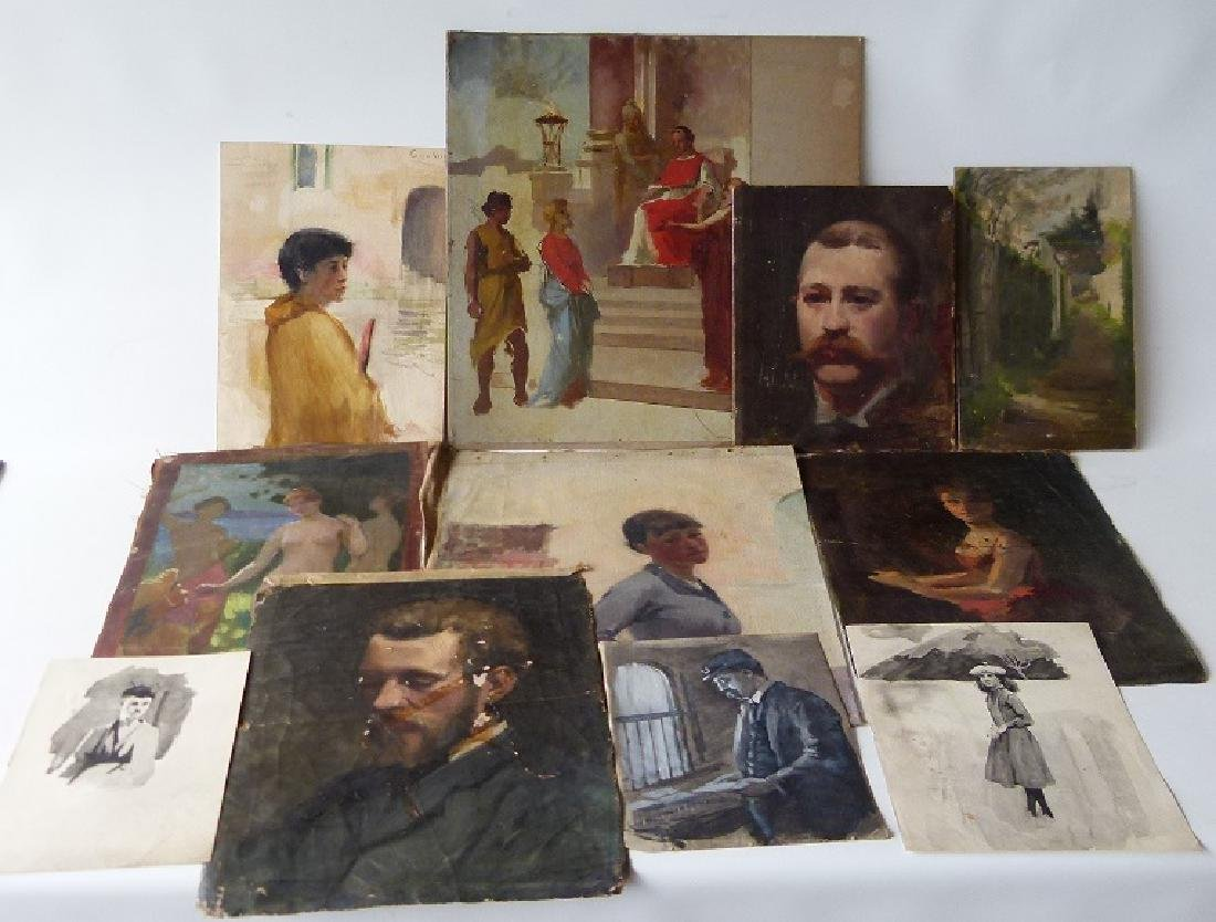 LOT (11) ASSORTED WATERCOLORS/OILS