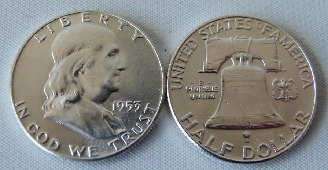 LOT (20) 1953 FRANKLIN SILVER HALF DOLLARS, UNC. - 3