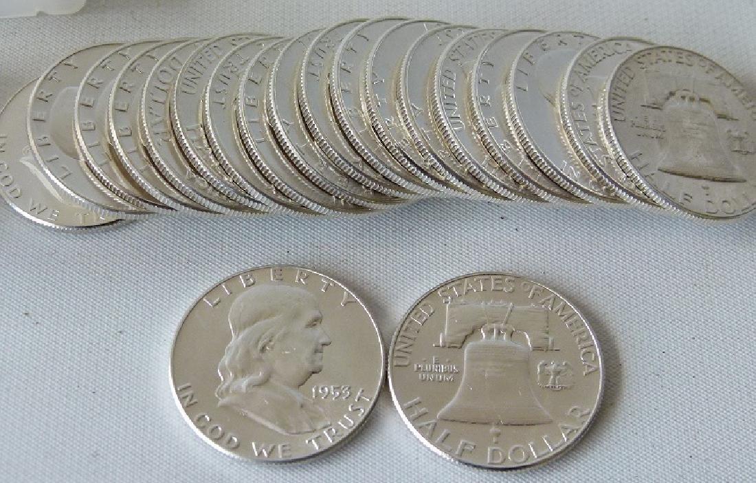 LOT (20) 1953 FRANKLIN SILVER HALF DOLLARS, UNC. - 5
