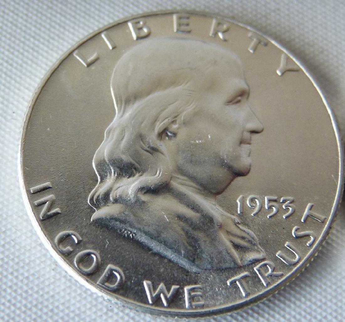 LOT (20) 1953 FRANKLIN SILVER HALF DOLLARS, UNC. - 6