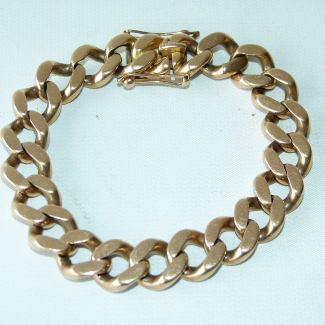 LARGE 18KT YELLOW GOLD LINK BRACELET, C. 1950