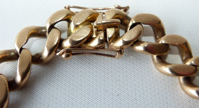 LARGE 18KT YELLOW GOLD LINK BRACELET, C. 1950 - 4