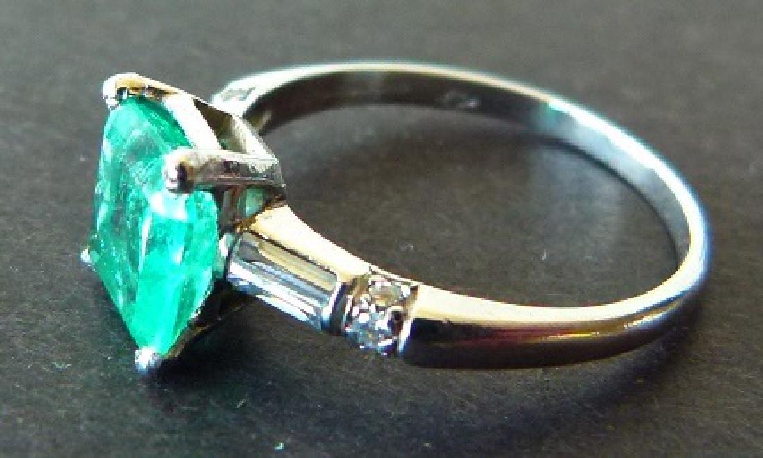ART DECO PLATINUM/EMERALD/DIAMOND RING - 2