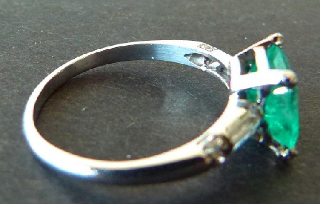 ART DECO PLATINUM/EMERALD/DIAMOND RING - 3