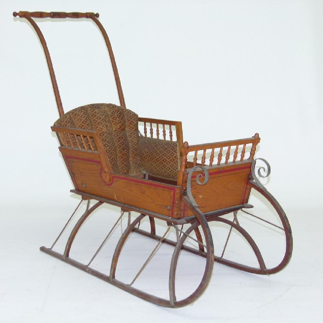 VICTORIAN CHESTNUT/PAINTED  PUSH SLEIGH