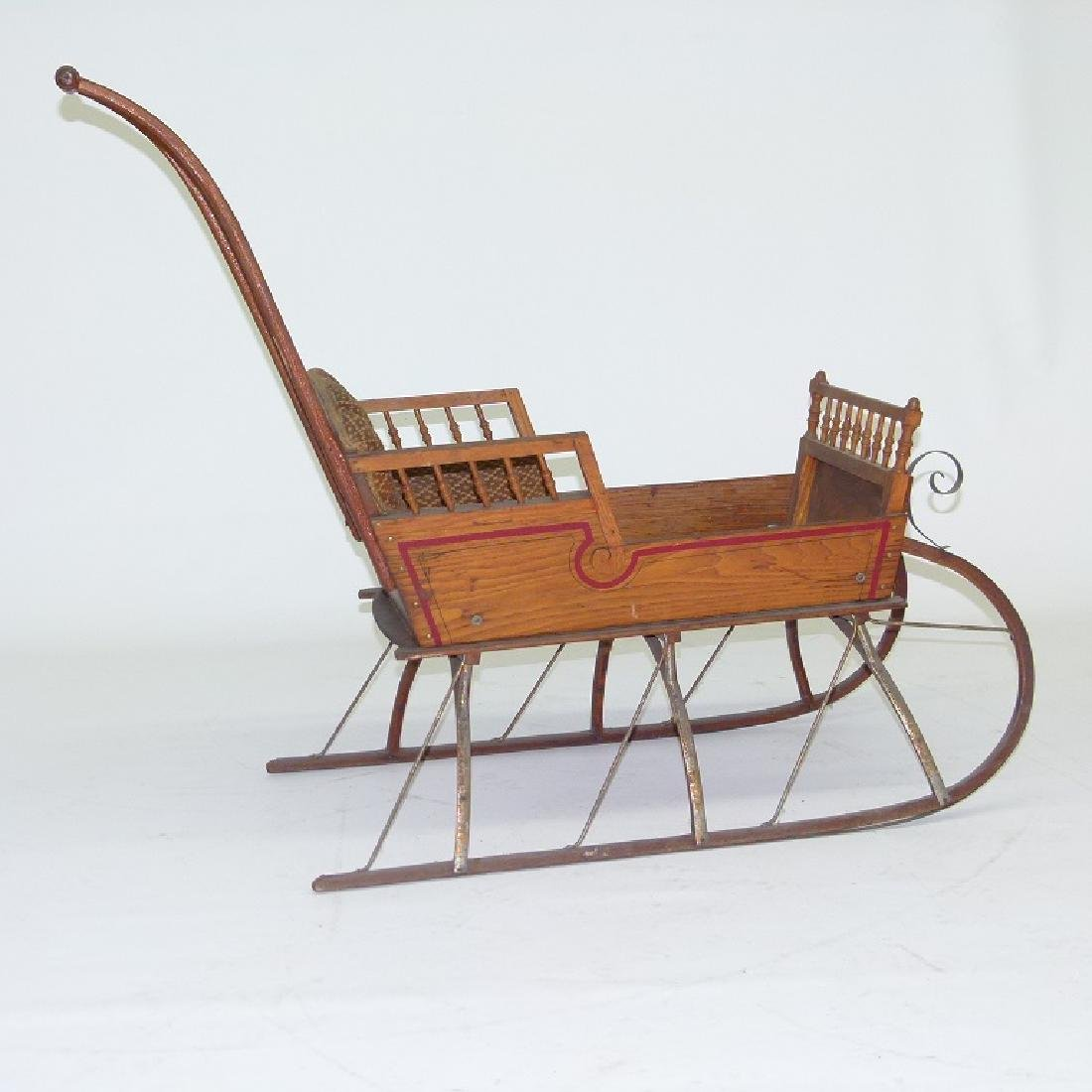 VICTORIAN CHESTNUT/PAINTED  PUSH SLEIGH - 2