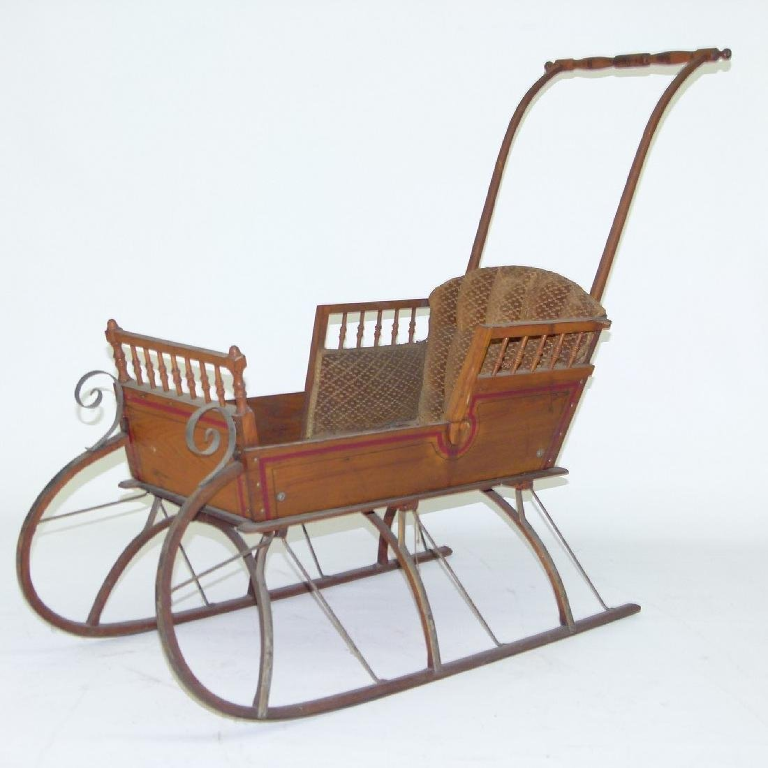 VICTORIAN CHESTNUT/PAINTED  PUSH SLEIGH - 3
