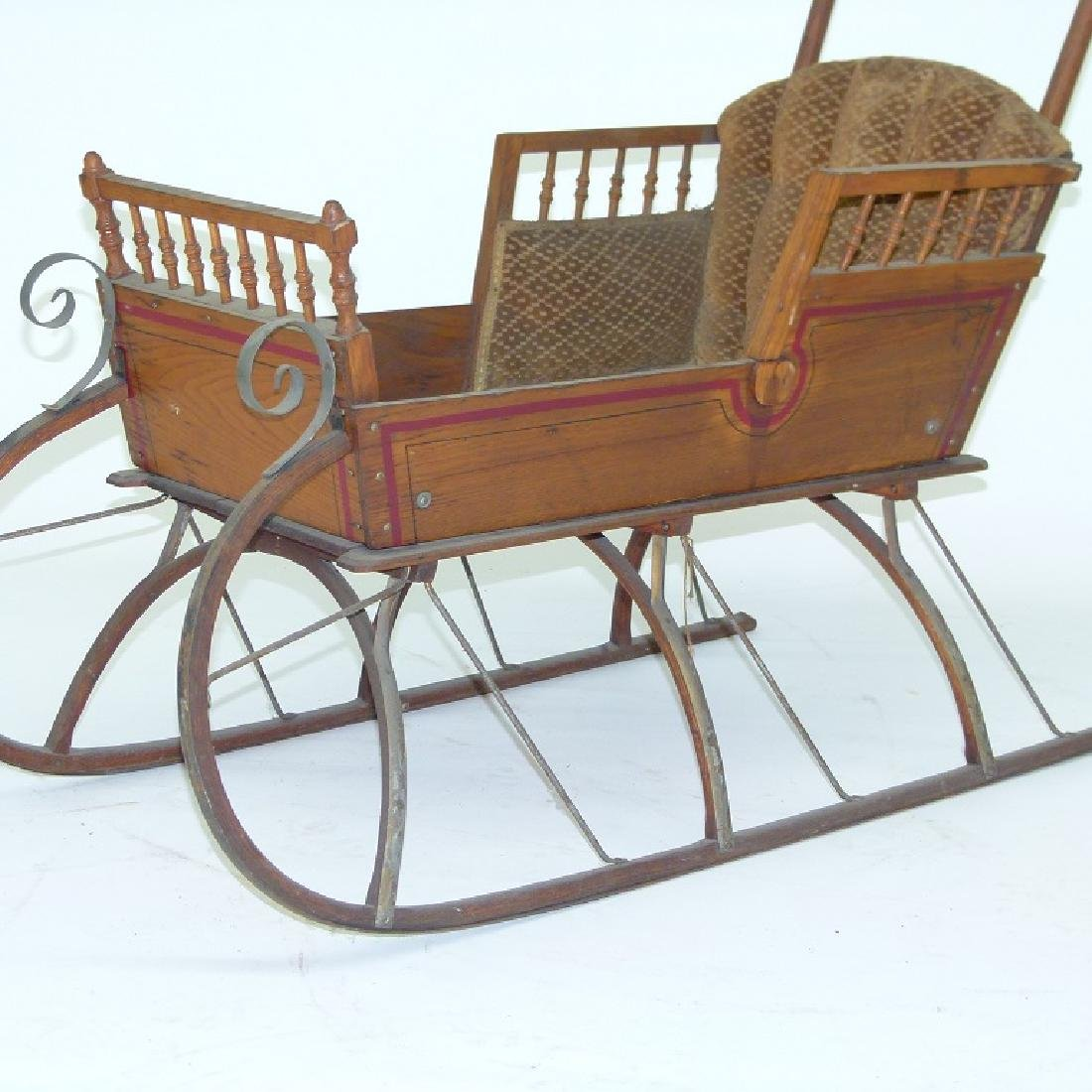 VICTORIAN CHESTNUT/PAINTED  PUSH SLEIGH - 4