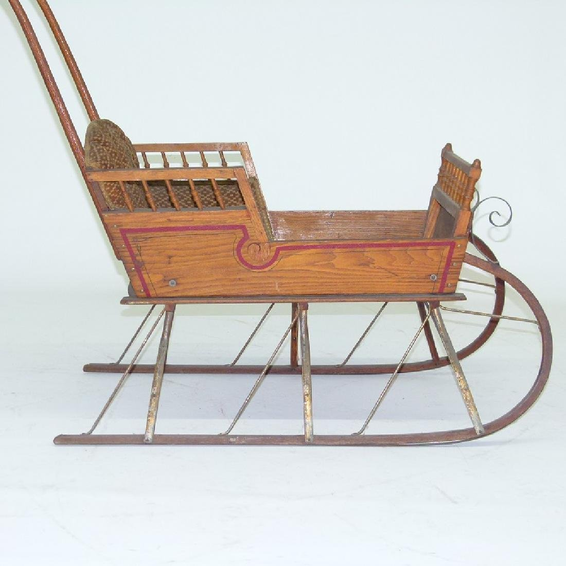 VICTORIAN CHESTNUT/PAINTED  PUSH SLEIGH - 5