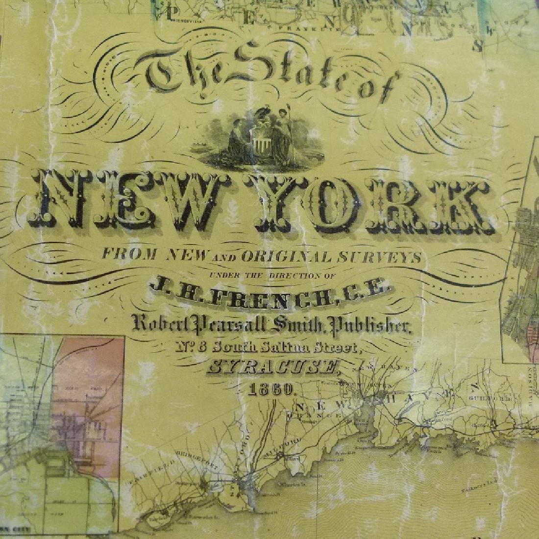 NEW YORK STATE MAP, J.H. FRENCH 1860