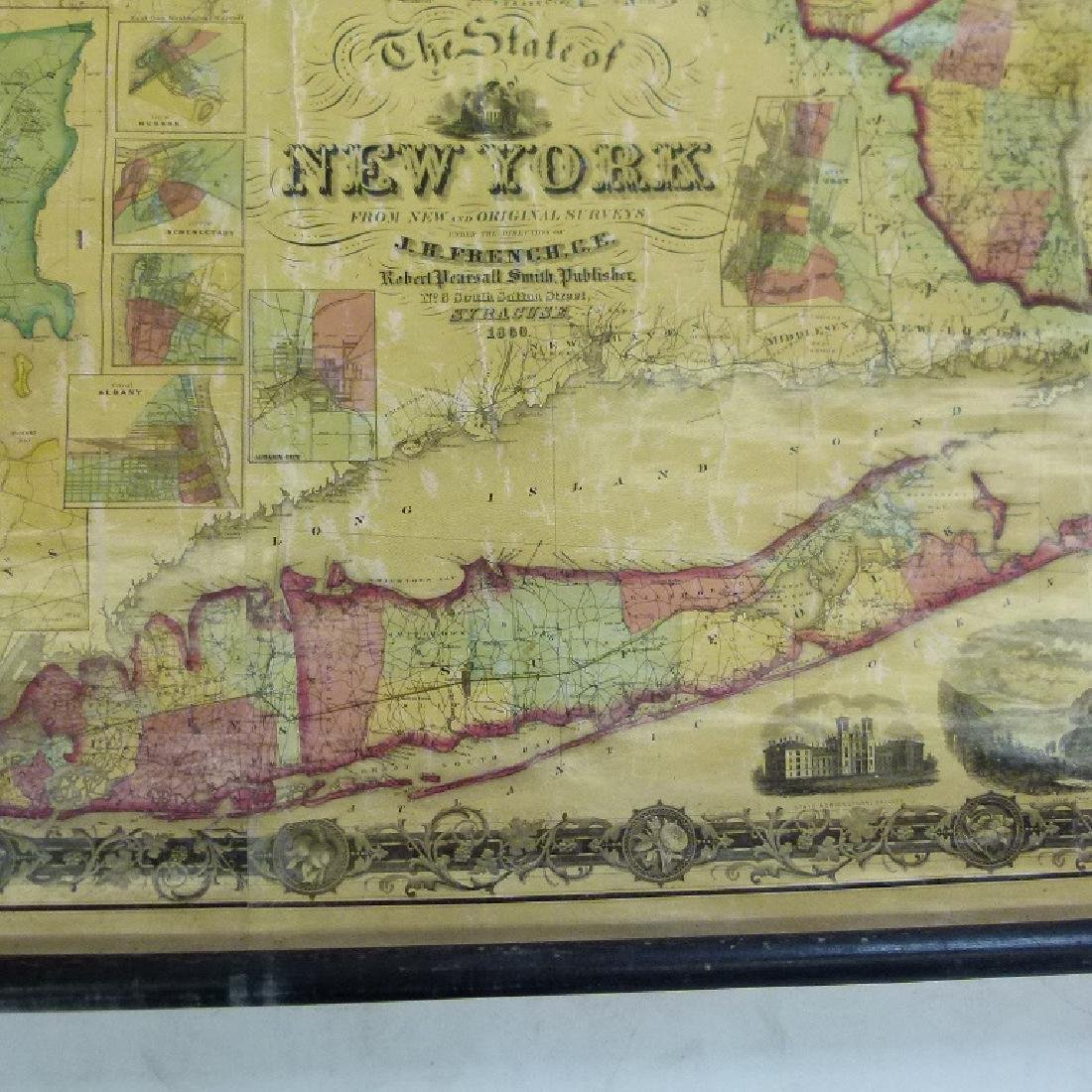 NEW YORK STATE MAP, J.H. FRENCH 1860 - 5