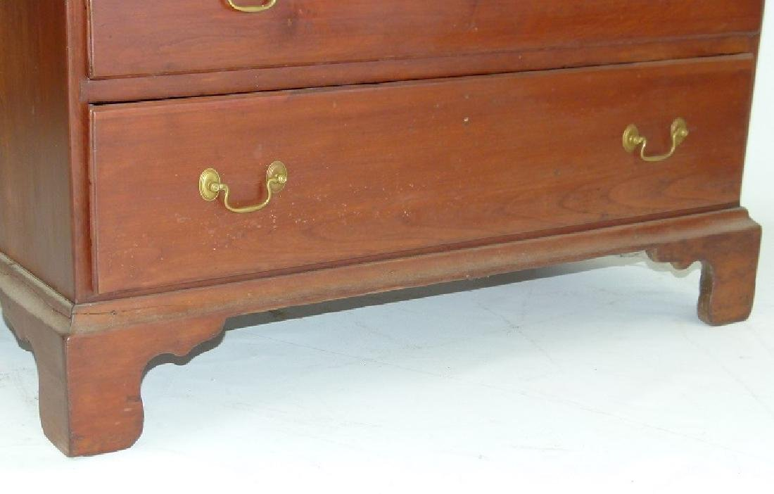 CHIPPENDALE CHERRY 2/5 CHEST OF DRAWERS, 18TH C. - 6