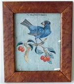 W/C GOUACHE BLUE GROSBEAK ON CHERRY BRANCH