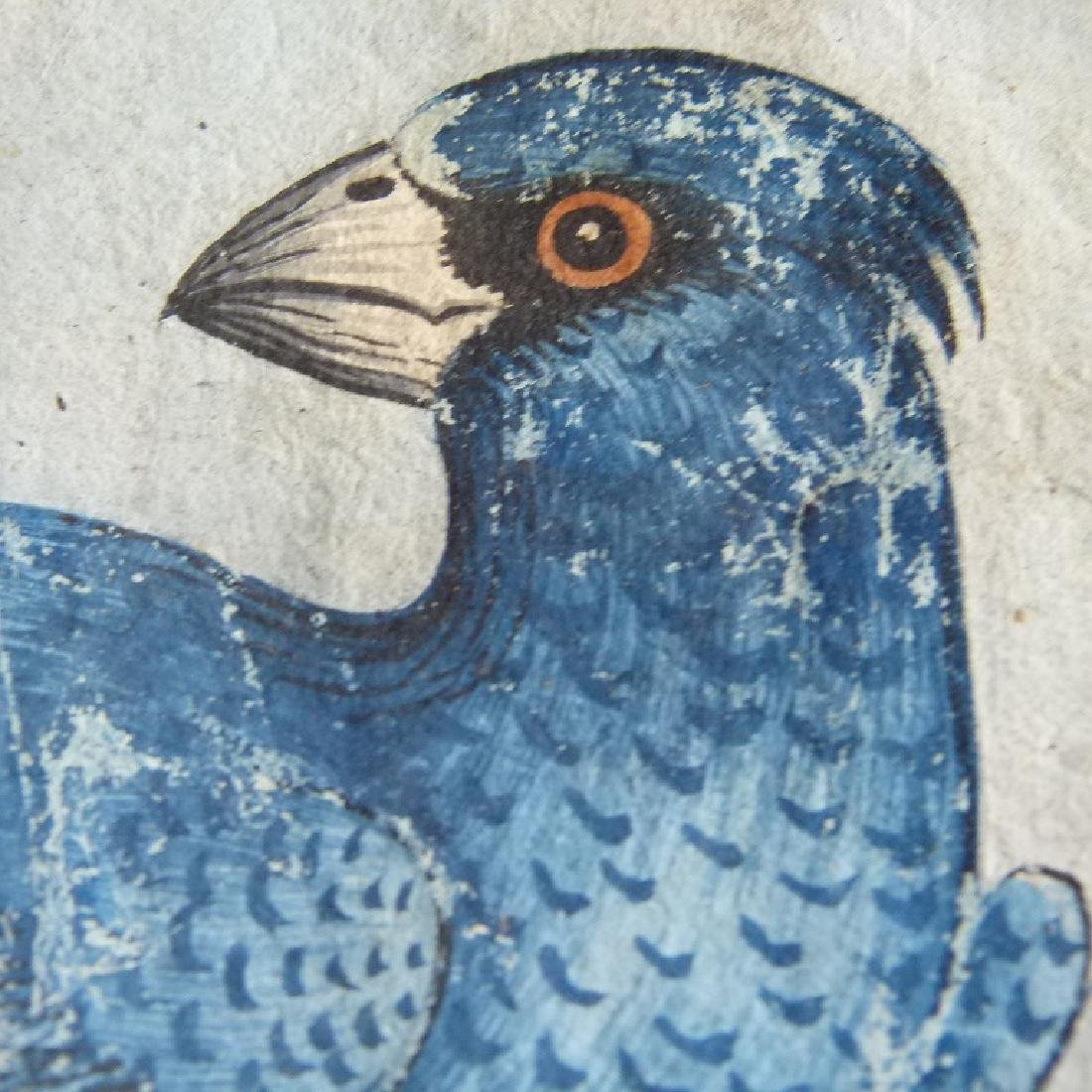 W/C GOUACHE BLUE GROSBEAK ON CHERRY BRANCH - 9