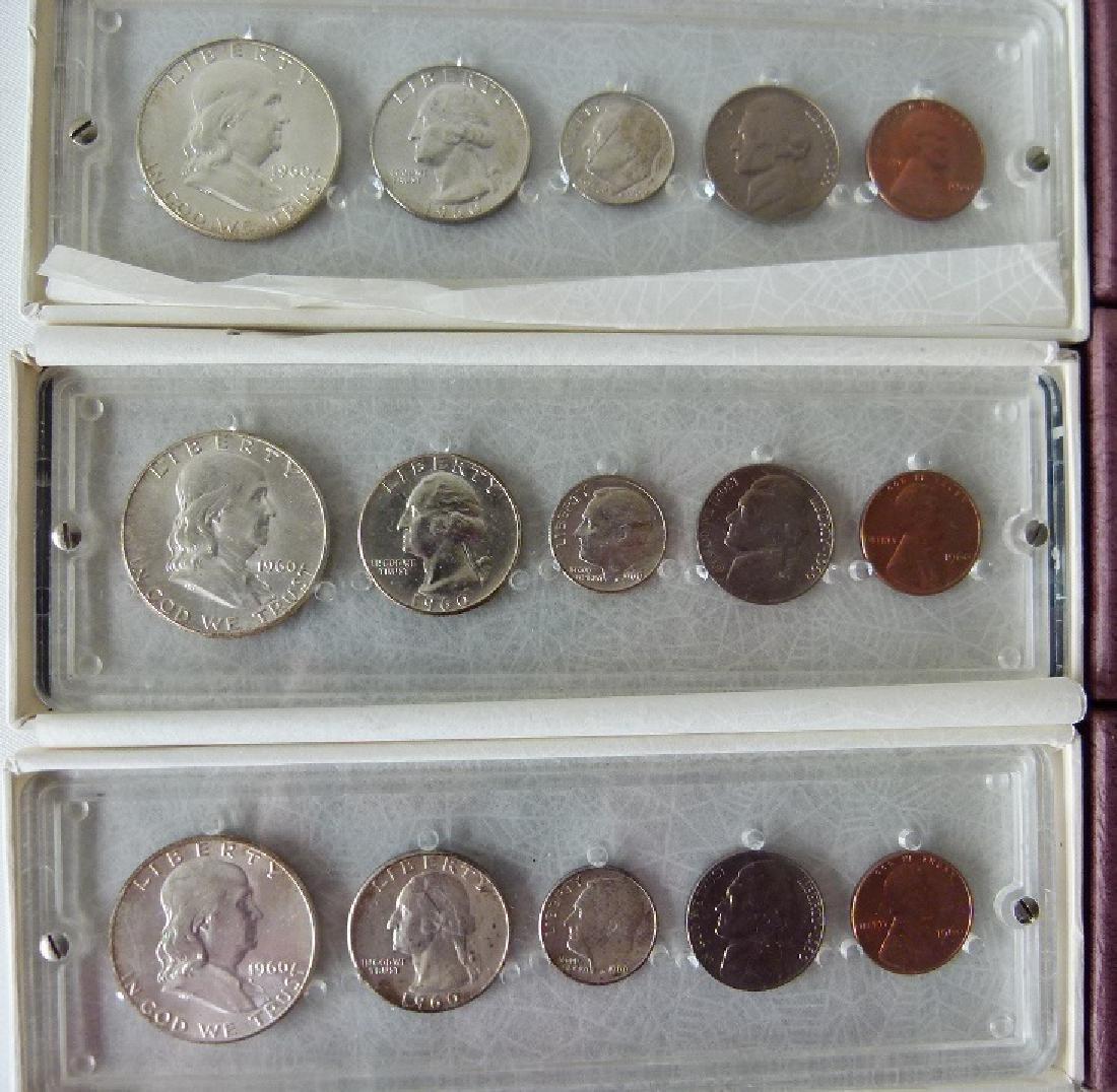 3 UNITED STATES 1960 P MINT/UNC. CASED SETS