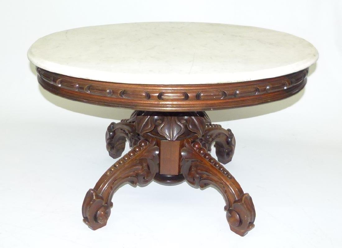 VICTORIAN WALNUT MARBLE TOP TABLE (REDUCED)