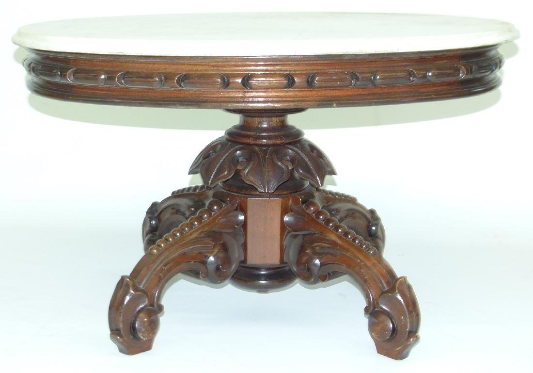 VICTORIAN WALNUT MARBLE TOP TABLE (REDUCED) - 2