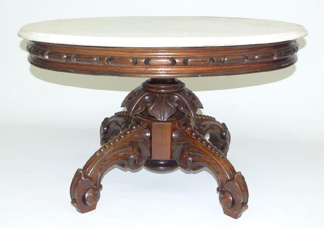 VICTORIAN WALNUT MARBLE TOP TABLE (REDUCED) - 7