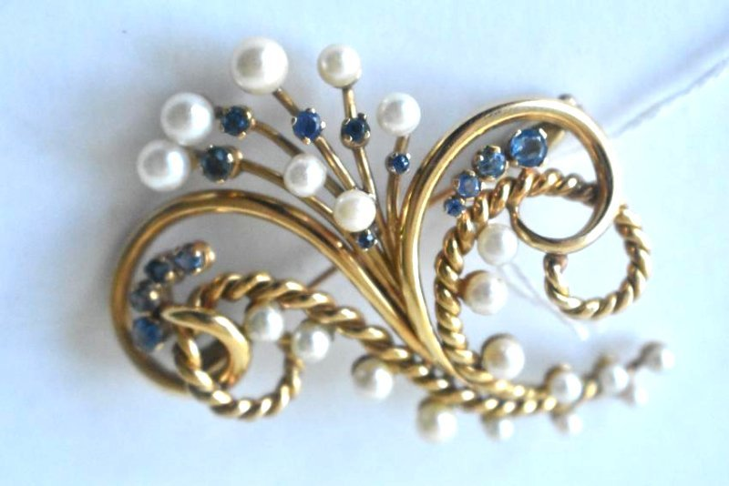 FINE 14KT SOLID YELLOW GOLD BOUQUET BROACH
