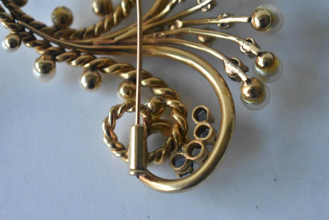 FINE 14KT SOLID YELLOW GOLD BOUQUET BROACH - 4