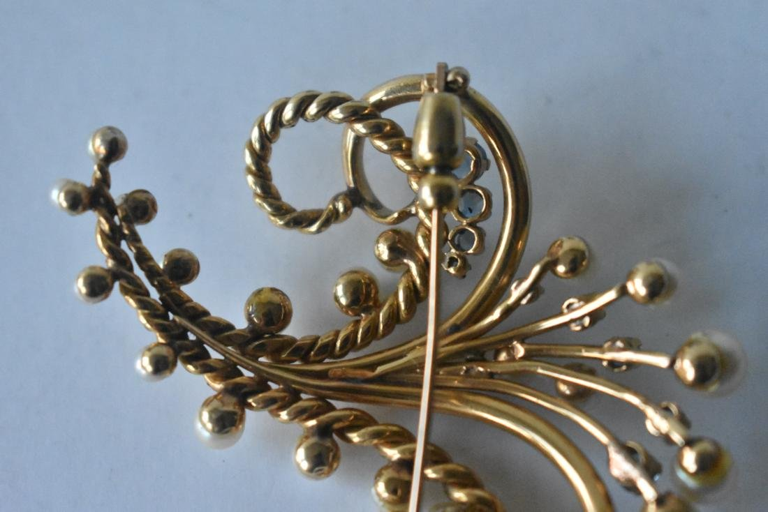 FINE 14KT SOLID YELLOW GOLD BOUQUET BROACH - 6