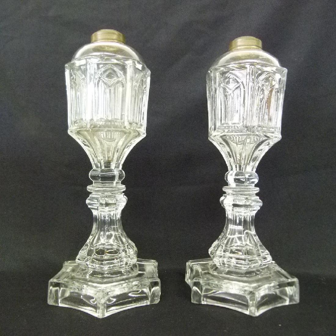 PR. EARLY GOTHIC PATTERN GLASS WHALE OIL LAMPS