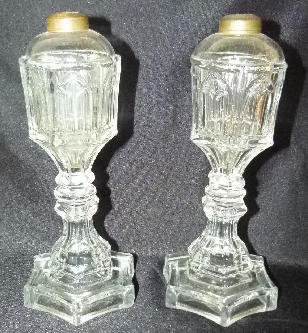 PR. EARLY GOTHIC PATTERN GLASS WHALE OIL LAMPS - 2