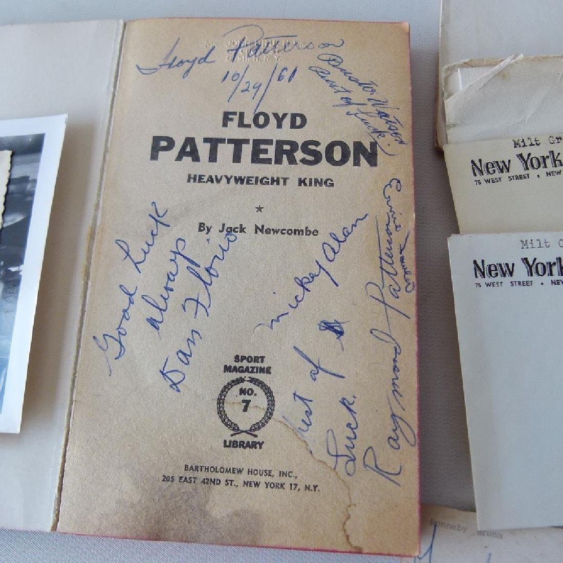 LOT FLOYD PATTERSON AUTOGRAPHED LETTERS, BOOK, ETC. - 2