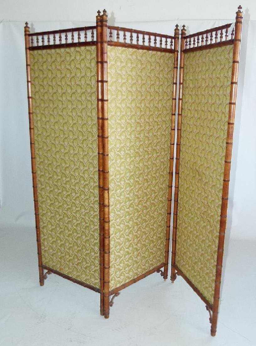 VICTORIAN FAUX BAMBOO 3 PART DRESSING SCREEN
