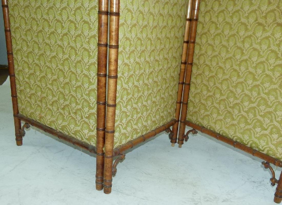 VICTORIAN FAUX BAMBOO 3 PART DRESSING SCREEN - 5