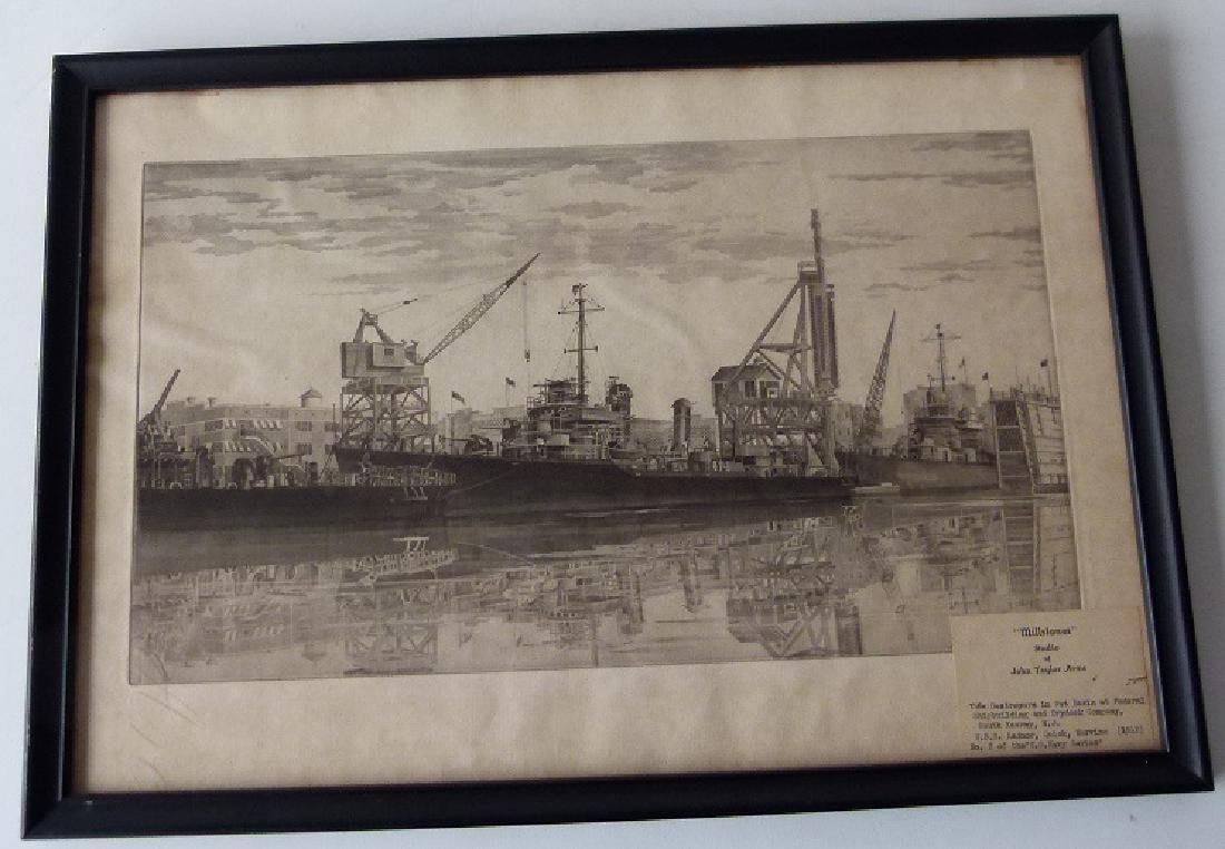 SOFT GROUND ETCHING, USS RADNOR, SIGNED