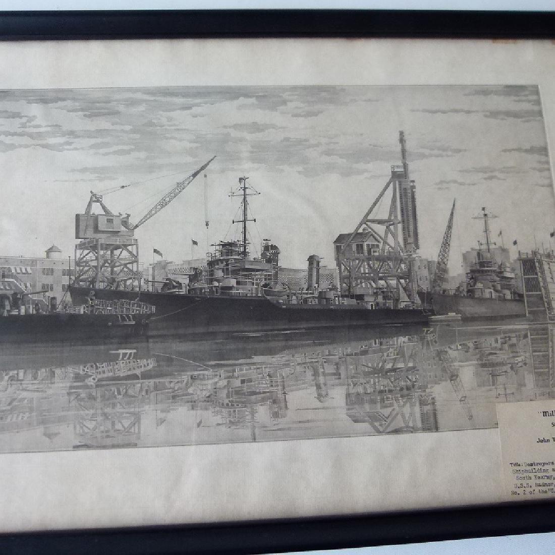 SOFT GROUND ETCHING, USS RADNOR, SIGNED - 2