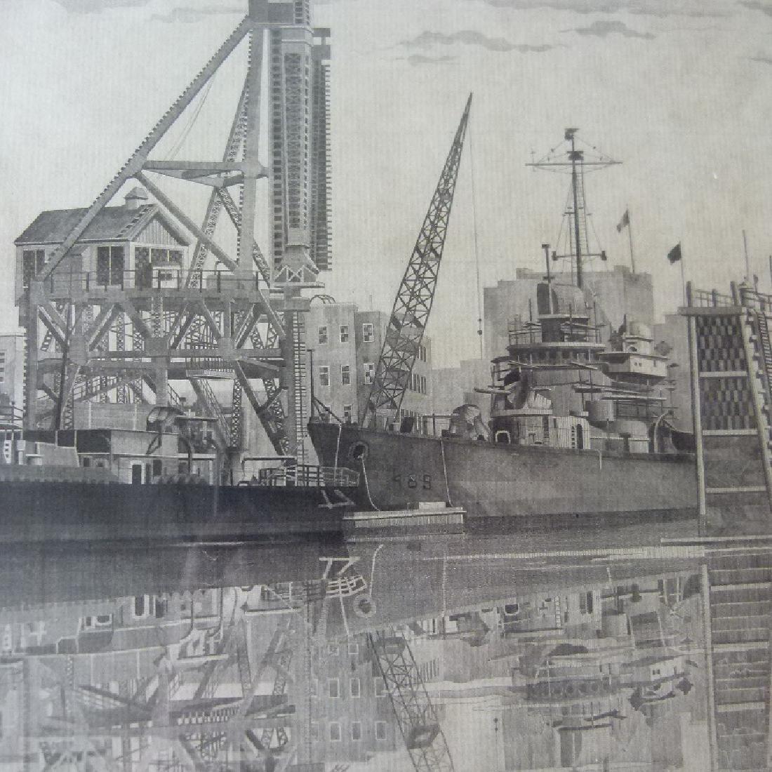 SOFT GROUND ETCHING, USS RADNOR, SIGNED - 8