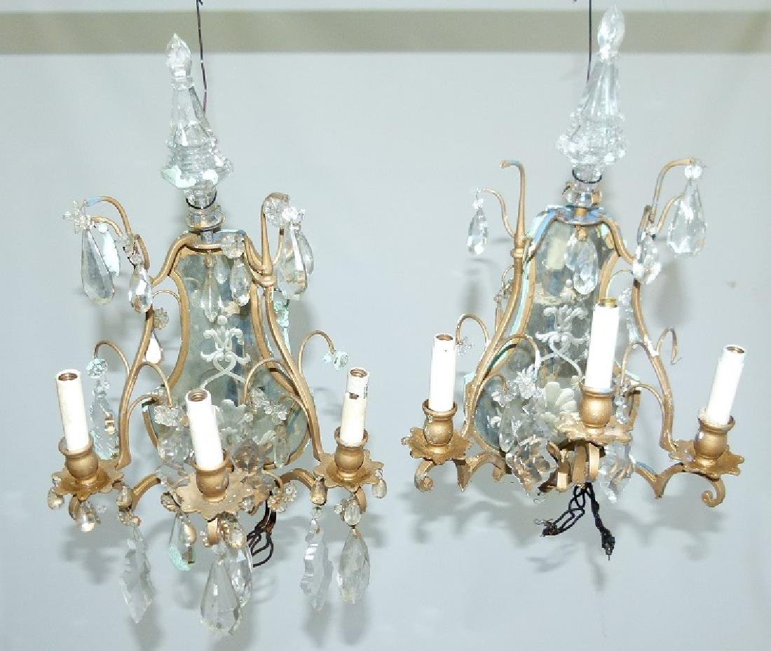 PAIR FRENCH BRONZE/CRYSTAL SCONCES, C. 1920