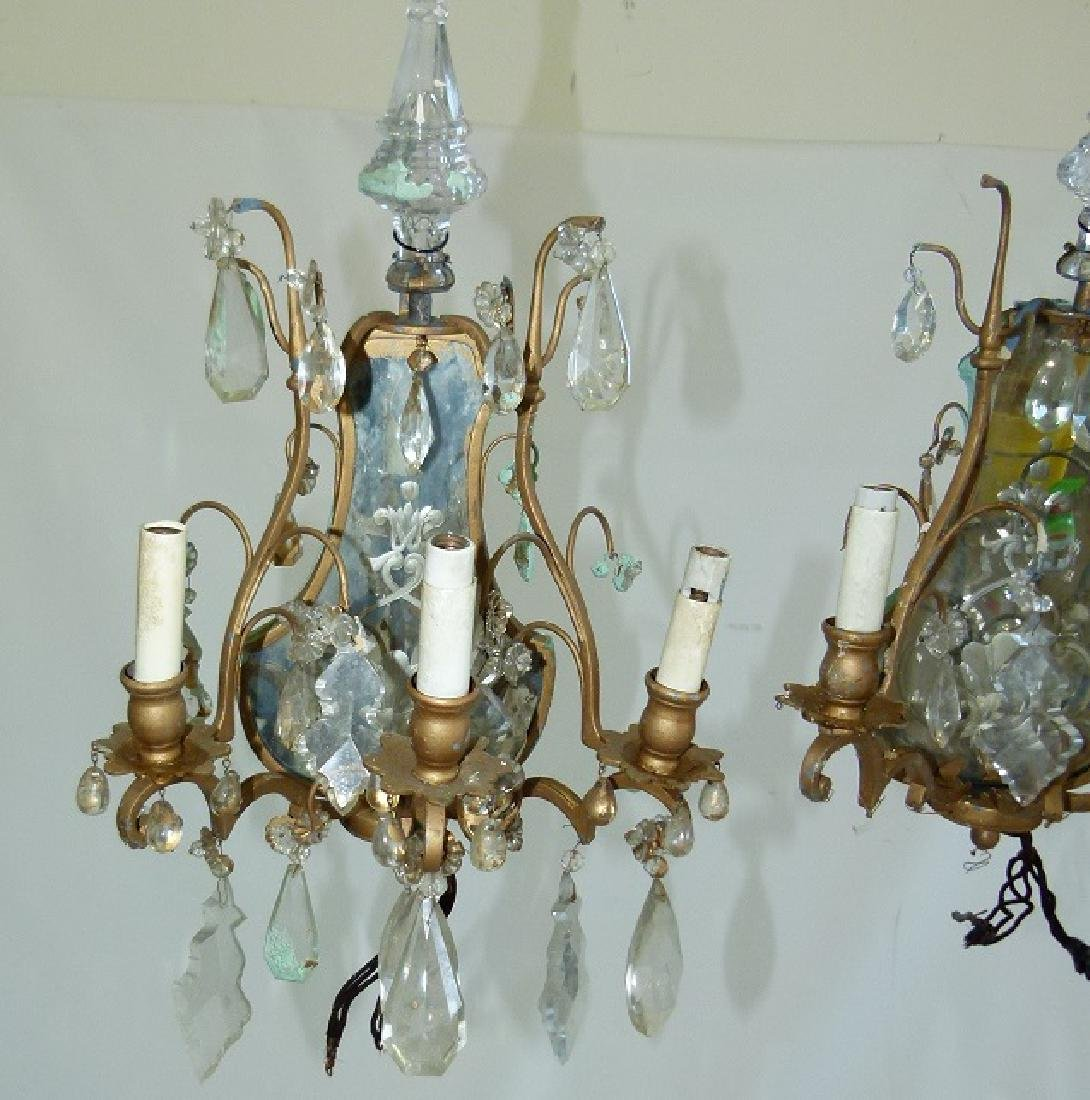 PAIR FRENCH BRONZE/CRYSTAL SCONCES, C. 1920 - 2