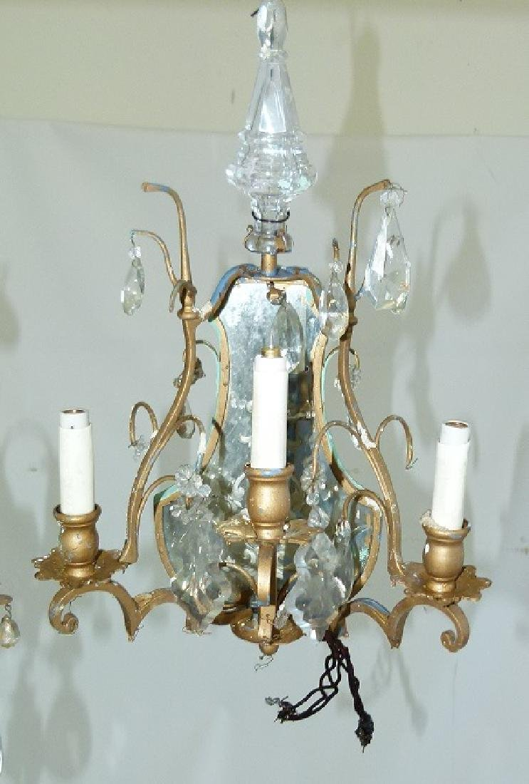 PAIR FRENCH BRONZE/CRYSTAL SCONCES, C. 1920 - 3