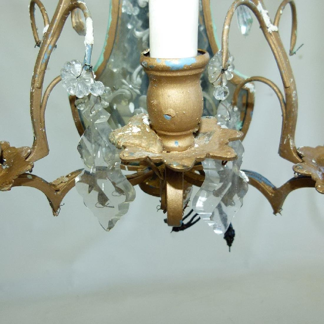 PAIR FRENCH BRONZE/CRYSTAL SCONCES, C. 1920 - 4