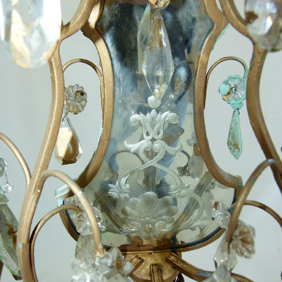PAIR FRENCH BRONZE/CRYSTAL SCONCES, C. 1920 - 6