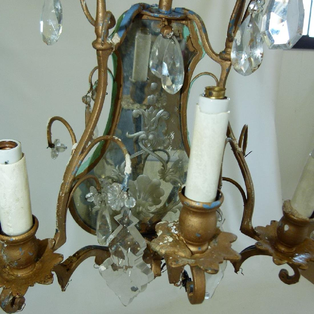 PAIR FRENCH BRONZE/CRYSTAL SCONCES, C. 1920 - 7