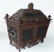 CONTINENTAL FORGED IRON STRONG BOX, 16/17TH C.