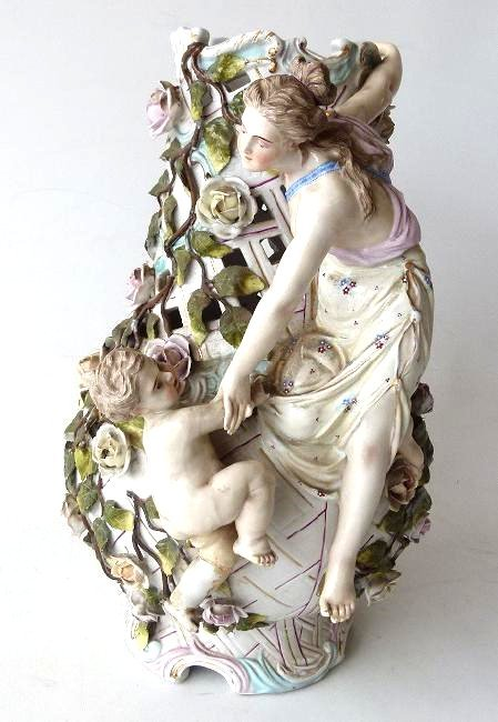 GERMAN H/P PORCELAIN RETICULATED VASE W/ FIGURES