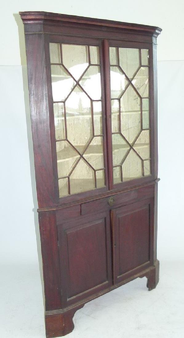 CHIPPENDALE MAHOGANY 2 PART CORNER CUPBOARD