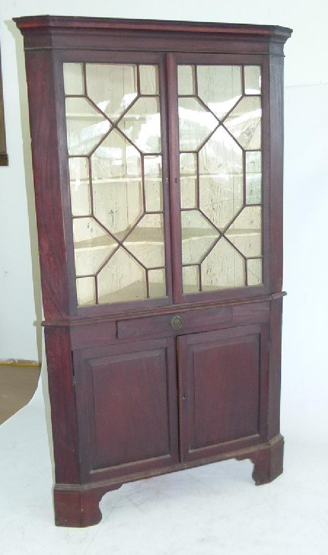 CHIPPENDALE MAHOGANY 2 PART CORNER CUPBOARD - 2
