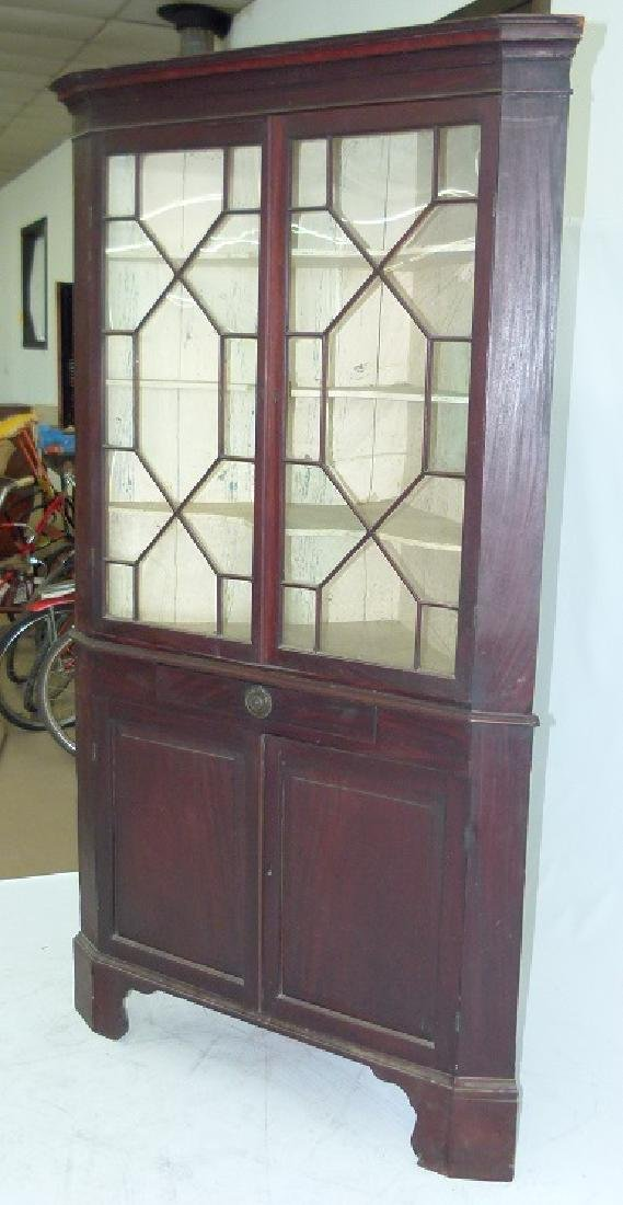 CHIPPENDALE MAHOGANY 2 PART CORNER CUPBOARD - 3