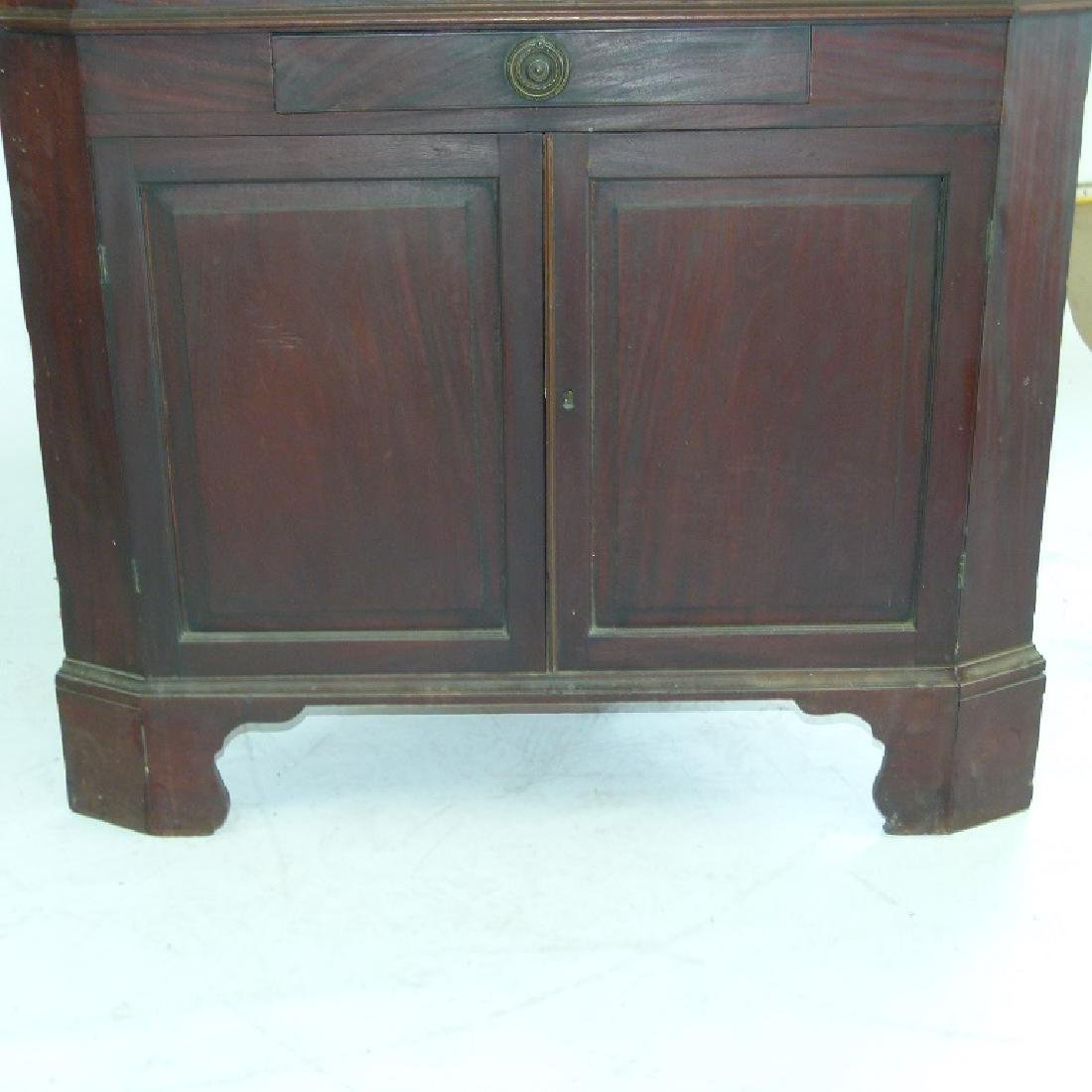 CHIPPENDALE MAHOGANY 2 PART CORNER CUPBOARD - 4
