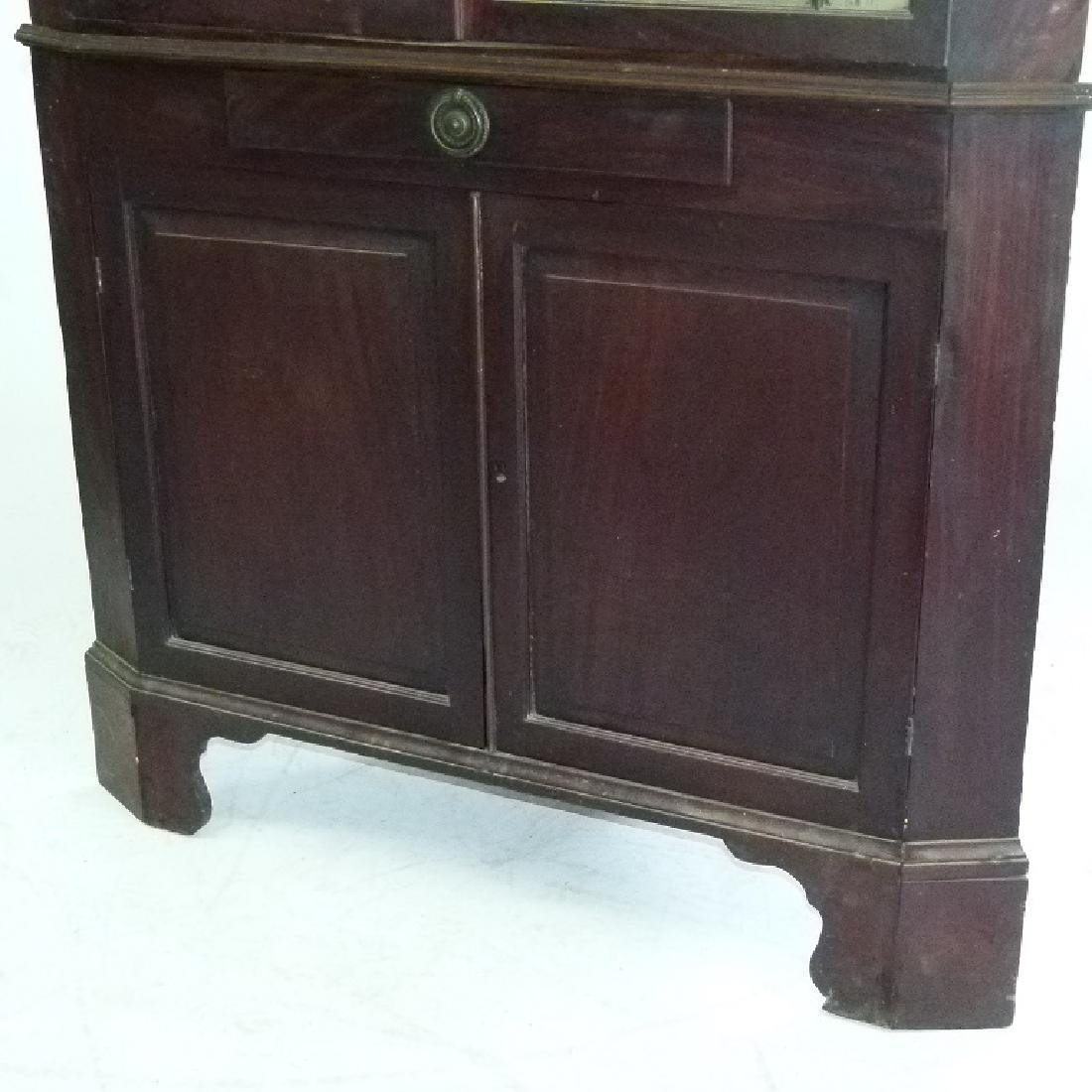 CHIPPENDALE MAHOGANY 2 PART CORNER CUPBOARD - 5