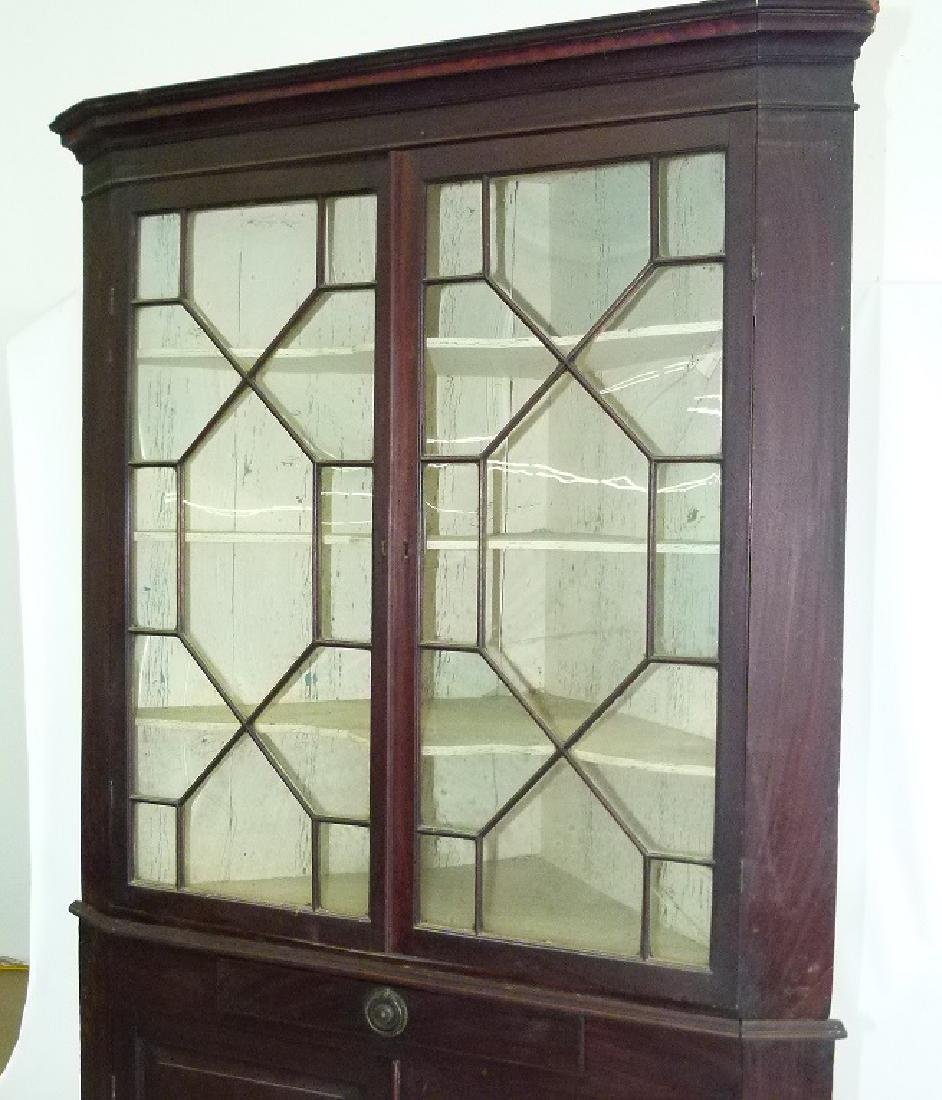 CHIPPENDALE MAHOGANY 2 PART CORNER CUPBOARD - 6