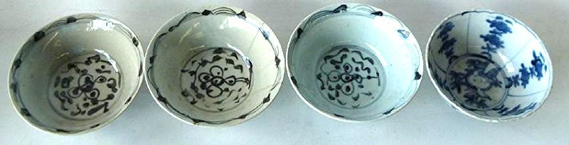4 CHINESE MING DYNASTY SWATOW BLUE/WHITE BOWLS - 2