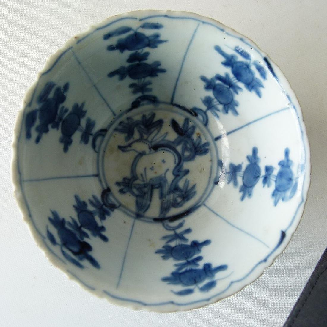 4 CHINESE MING DYNASTY SWATOW BLUE/WHITE BOWLS - 3