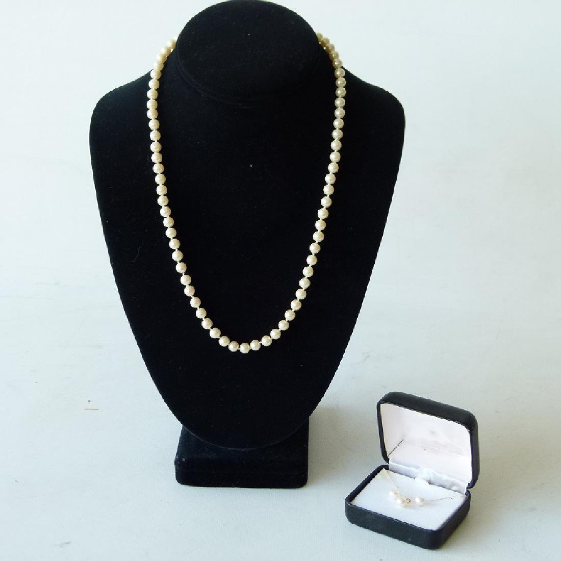 LOT (2) MODERN CULTURED 6MM PEARLS INCL. NECKLACE